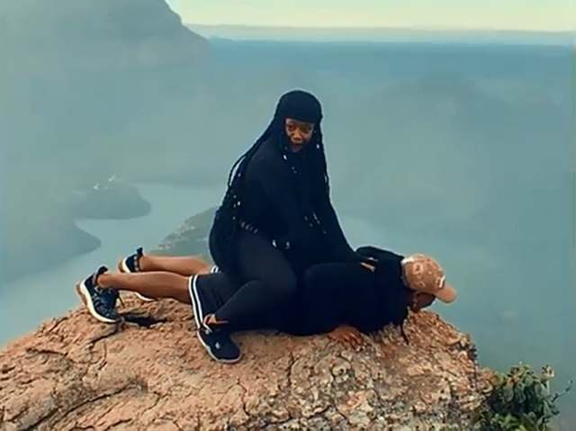 Video: Bontle Modiselle and her husband Priddy Ugly take a risk on top of high hill