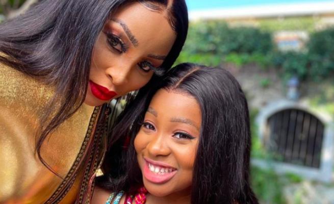 Khanyi Mbau slammed for bleaching daughter's skin