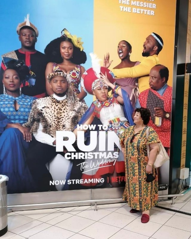 Pics: Thando Thabethe's grandma gushes over the actress's billboard at the airport