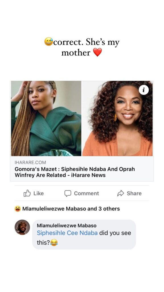 Sphesihle Ndaba Reacts To Reports Claiming She Is Related To Oprah Winfrey