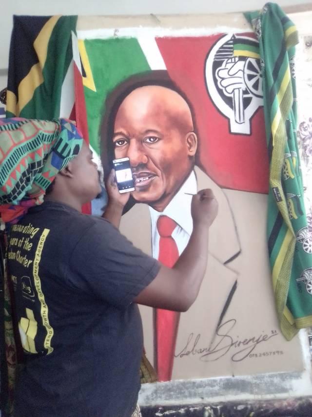 Mzansi reacts Rasta's painting of Minister Jackson Mthembu