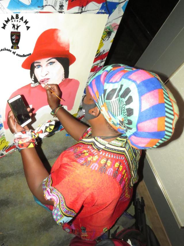 Khanyi Mbau impressed by rasta's painting of her – Video