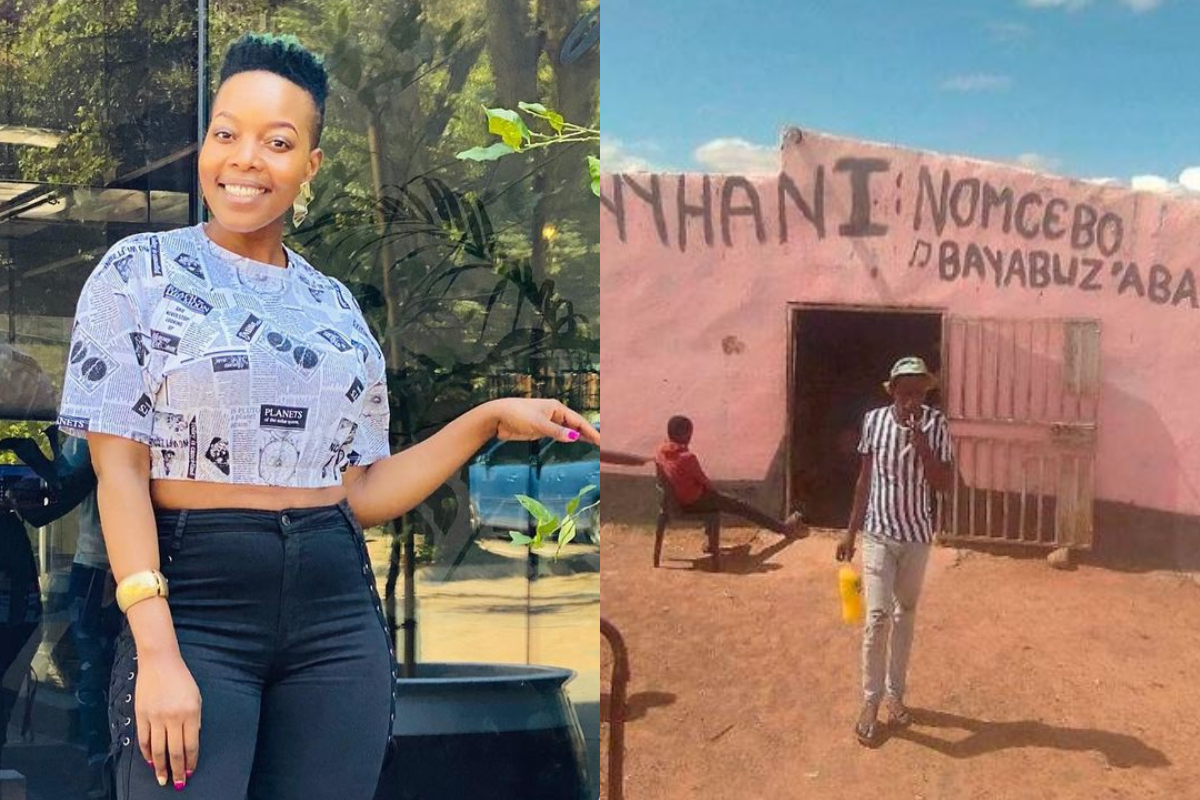 Check Out Nomcebo's Reaction After She Spotted Her Name In Front Of A Fan's House