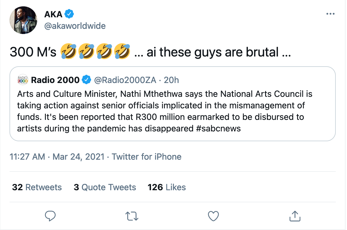 'These Guys Are Brutal' – AKA Reacts To News That R300 Million That Was Supposed To Give Shared To Artistes Has Vanished