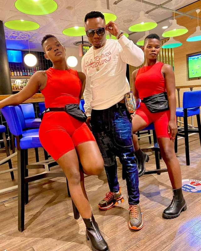 Pic of DJ Tira and the Qwabe Twins having a good time