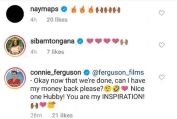 Drama as Connie Ferguson demands her money back from her show off hubby