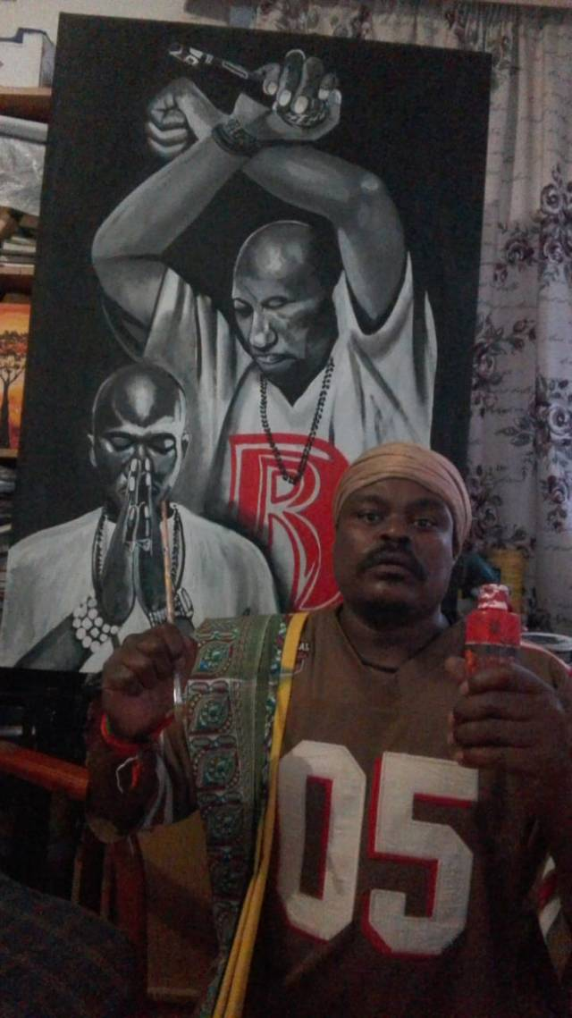 Rasta flaunts DMX and Prince Philips paintings