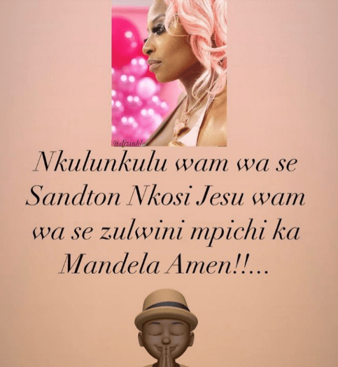 Murda Bongz gusges over girlfriend DJ Zinhle with a sweet prayer for the DJ