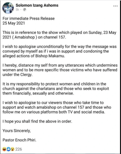 #AmaBishop's Pastor Phiri Issues An Apology