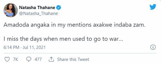 NATASHA THAHANE SLAMS SA MEN FOR EXPOSING HER RELATIONSHIP WITH THEMBINKOSI LORCH